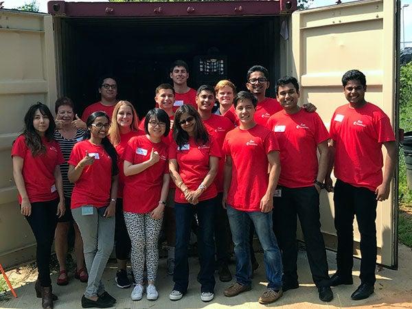 Interns volunteering