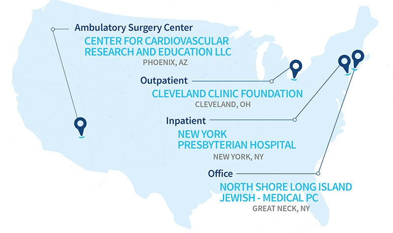 Top Cardiology Facility by Setting Map