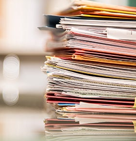 Stack of life insurance applications