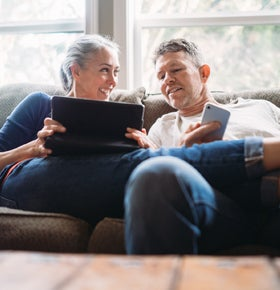 Couple completing life insurance application